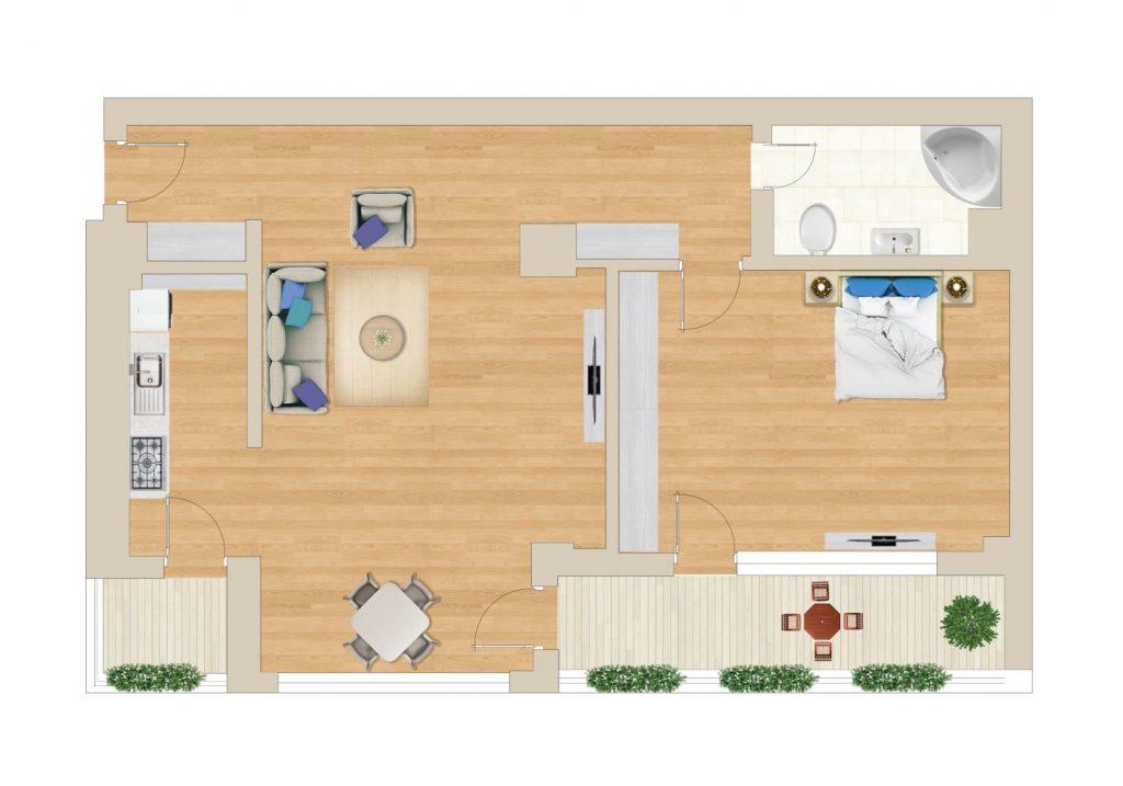 תכנית דירה בפיפרה 55 מטר מרובע