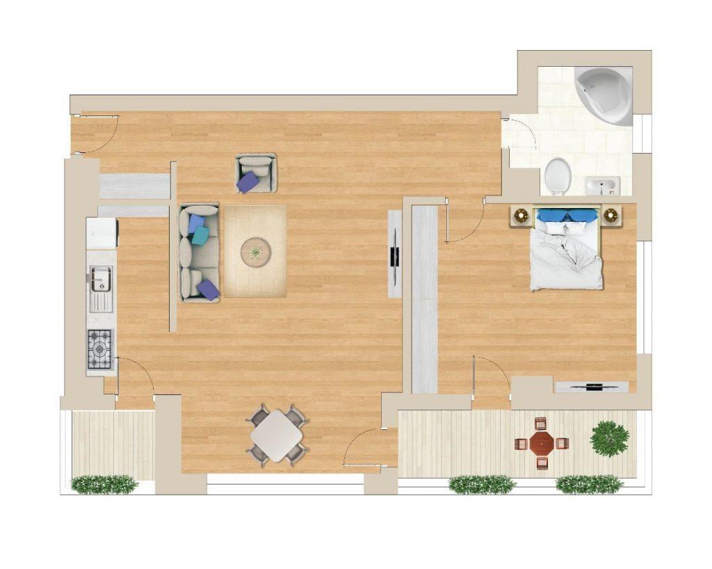 תכנית דירה בפיפרה 57 מטר מרובע